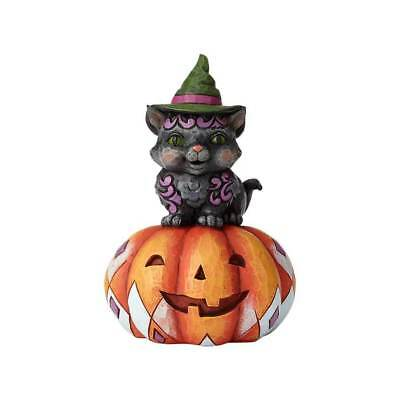 Jim Shore Halloween Pint Size BLACK CAT ON PUMPKIN 6001548 MISCHIEF IN THE MAKIN