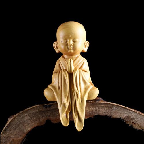 JP101 - 12.8*6.2*4.2 CM Stunning Boxwood Carving: Little Monk Za-zen