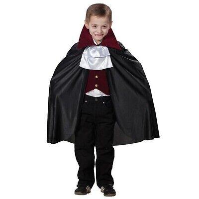 DELUXE VAMPIR UMHANG mit Stehkragen Halloween Kinder Cape Dracula Kostüm Party