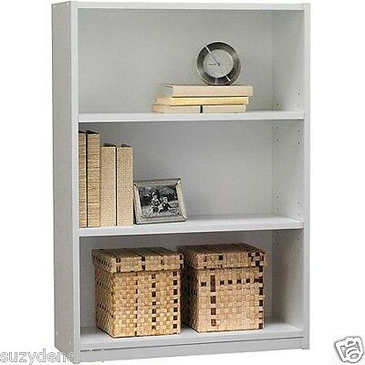 Bookcase 3 Shelf Storage Bookshelf Wood Furniture Adjustable Shelving WHITE