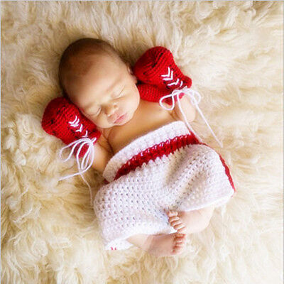 Knitted baby boxer costume for boys and girls crochet new born photography props