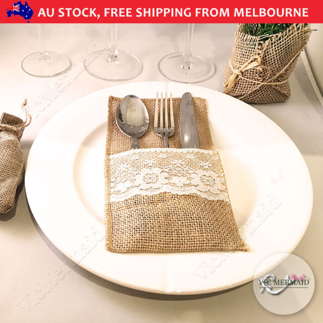 10x hessian burlap cutlery holder lace rustic wedding party table 10x hessian burlap cutlery holder lace rustic wedding party table decorations junglespirit Images