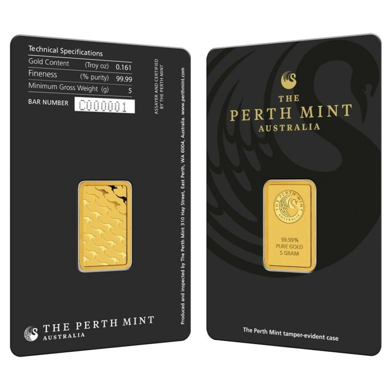 5 gram Perth Mint Gold Bar .9999 Fine (In Assay)