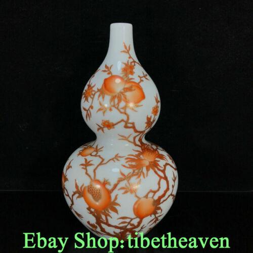 "9.6"" Yongzheng Old China Famille Rose Porcelain Gilt Peach Gourd Bottle Vase JL"