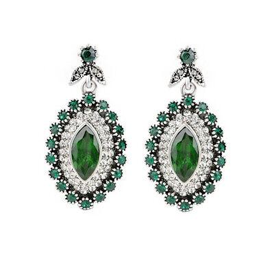 Emerald Green Turkish Hurrem Style Cubic Zirconia Earring Jewelry US Seller ER18
