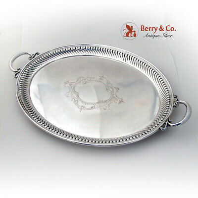 Fluted Engraved Tea Tray Koch Bergfeld German 800 Standard Silver 1900
