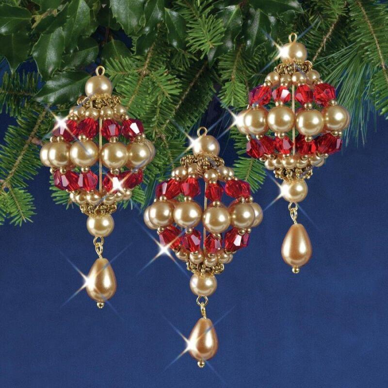 Nostalgic Christmas Beaded Crystal Ornament Kit Ruby & Gold Baroque Drops