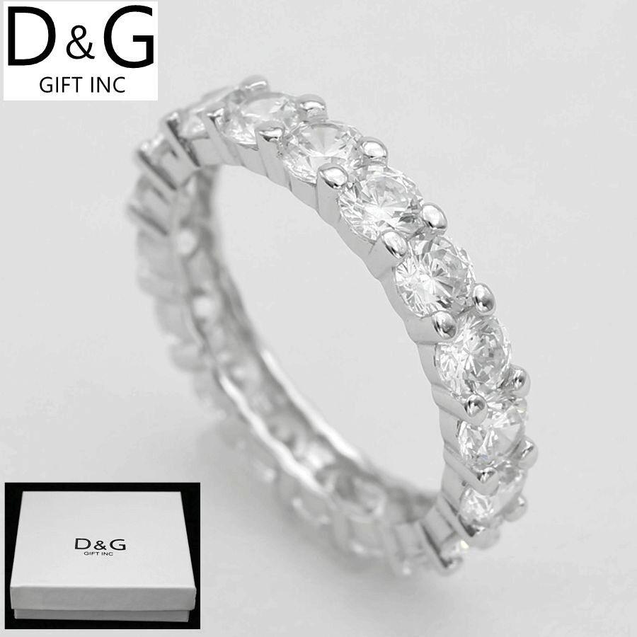 DG Women's Sterling Silver Eternity Wedding*Band CZ Ring 5 6