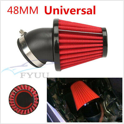 Motorbike ATV Dual Layer Stainless Steel Mesh 45° Angled Air Filter Pod 48mm Red