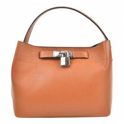 Isabella Rhea Lock Cognac Leather Brown Handbag
