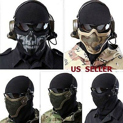 Halloween Mesh Protective SKULL Mask Half Face Tactical Airsoft Military Mask - Half Face Halloween Skull