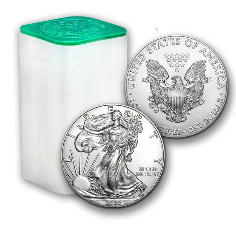 2020 1 oz Silver American Eagle - Lot, Mint Tube, Roll of 20 - $1 Coins