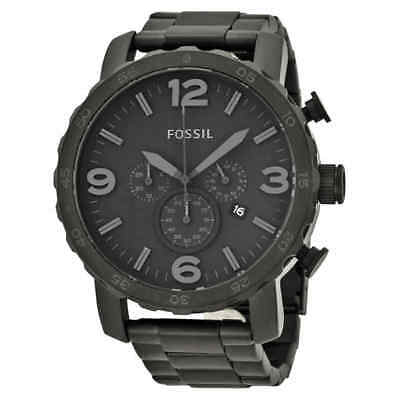 Fossil Nate Chronograph Black Dial Black Ion-plated Men