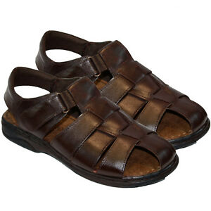 NEW MENS SOFT LEATHER VELCRO WALKING SUMMER HOLIDAY BEACH MULES SANDALS SHOES
