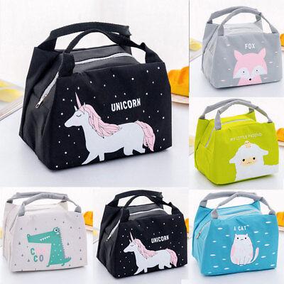 Unicorn Women Girls Kids Portable Insulated Lunch Bag Box Picnic Tote -