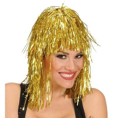 GOLDENE LAMETTA PERÜCKE Karneval Fasching Metallic Disco Kostüm Party gold - Gold Disco Kostüm
