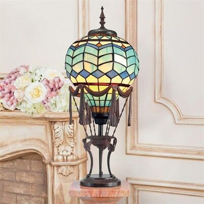 """27.5"""" Authentic Stained Glass Metal Hot Air Balloon Desk Table 40 Watt Bulb Lamp"""