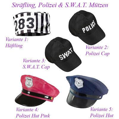POLIZEI HÄFTLING HUT Karneval JGA Polizist Sträfling Kostüm Party Mütze Cap - Polizei Kostüm Hut