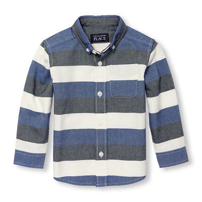 NWT The Childrens Place Boys Blue Long Sleeve Striped Oxford Button-Down Shirt