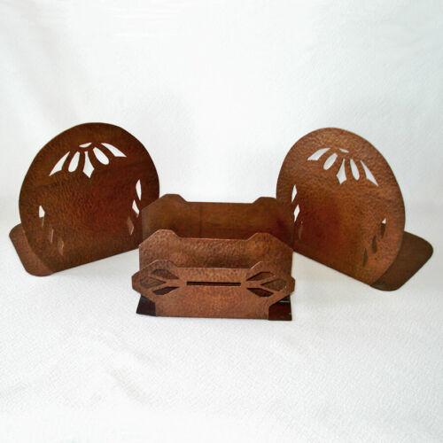 Arts Crafts Hammered Copper Bookends Letter Holder Desk Set