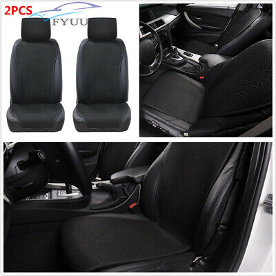 Pair Universal Black Ultra-Thin Ice Silk Car Split Seat Cover Protection Cushion ()
