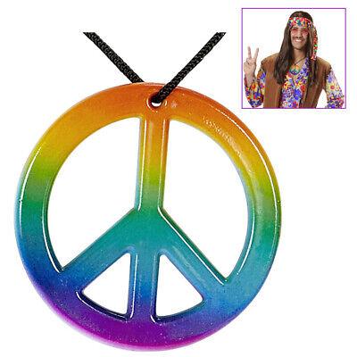 HIPPIE KETTE # 60er 70er Jahre Motto Kostüm Party Peacezeichen Halskette # - Hippie Kostüm Halskette