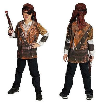 KINDER PIRATEN LANGARMSHIRT Karneval Jungen Piratenkostüm Karibik Kostüm - Piraten Kinder Kostüme