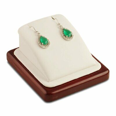 White Leather Rosewood Earring Pendant Jewelry Display