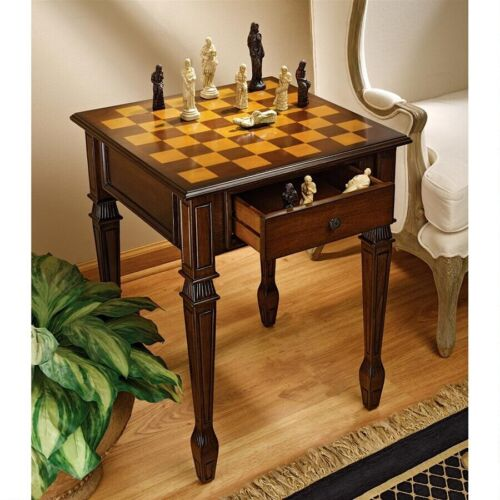 Walnut Hued Finish Hardwood Game Table Hand Painted Tabletop Gaming Table