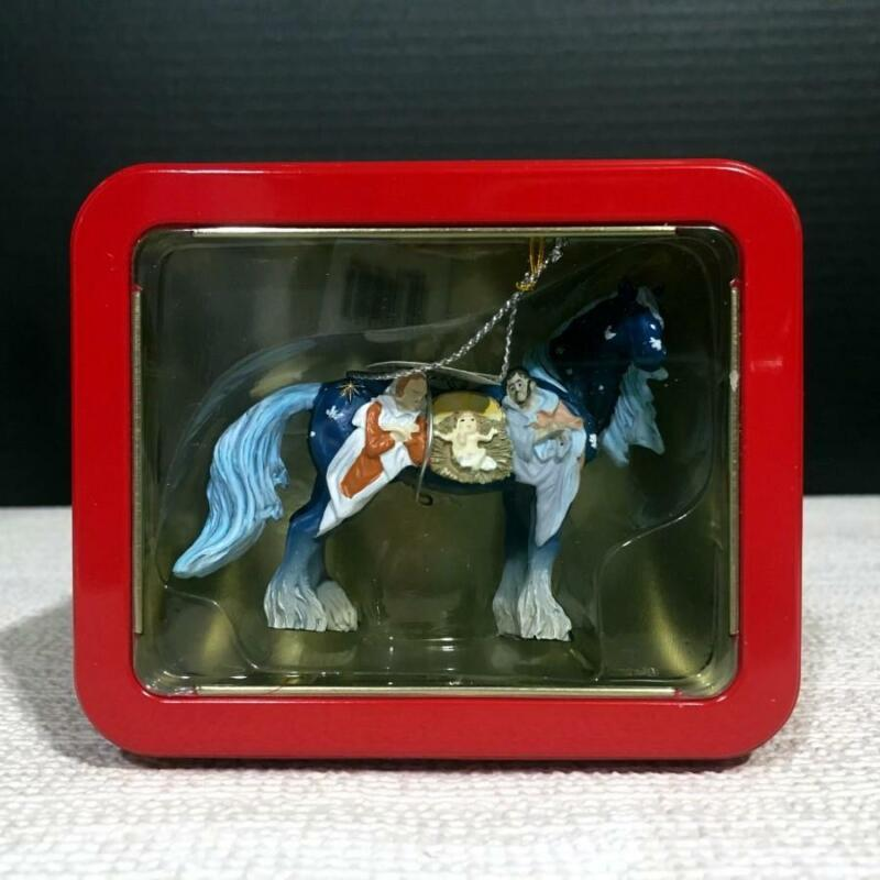 20654 NATIVITY Resin Horse of a Different Color Christmas Ornament in Tin Box
