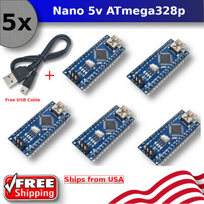 5pcs Arduino Nano V3.0 16m 5v Atmega328p Micro-controller Board Mini Cable