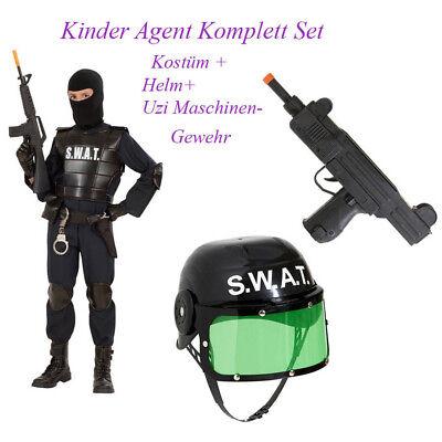 POLIZEI KOSTÜM KINDER Karneval SWAT Agent Polizist Helm Maschinen Gewehr - Swat Kostüm Kind