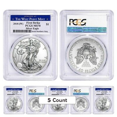 Lot of 5 - 2018 (W) 1 oz Silver American Eagle $1 Coin PCGS MS 70 FS West Point