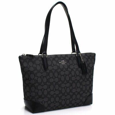 NWT Coach F29958 Signature Jacquard Zip Tote Bag Purse Silver Black Smoke $250