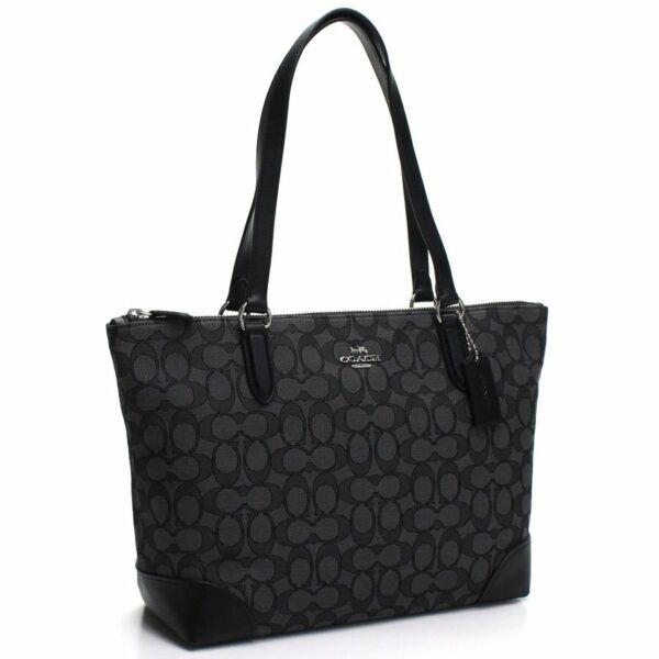 NWT Coach F29958 Signature Jacquard Zip Tote Bag Purse Silver Black Smoke $250 1
