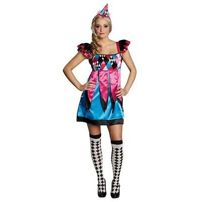 HARLEKIN KOSTÜM DAMEN Karneval Fasching Pierrot Clown Zirkus Kleid Motto Party