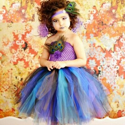 Peacock Feather Tutu Dress For Baby Girls Halloween Costume Kids Party Dresses