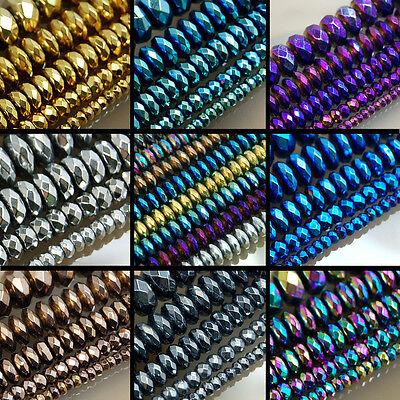 Faceted Hematite Gemstone Rondelle Beads 16