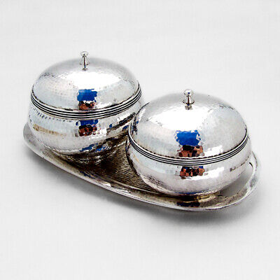 Korean Silver Hand Made Hammered Covered Bowls Tray Set Enamel
