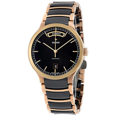 Rado Centrix Black Dial Rose Gold PVD and Ceramic Spontaneous Mens Watch R30158172
