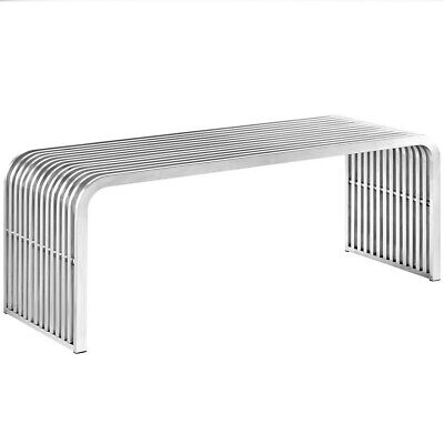 Modway Pipe Metal Bench, Silver, 46.5L x 15.5W x 16.5H in.