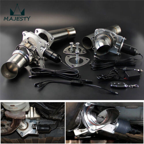 """2.25/"""" Dual Exhaust Catback Downpipe Cutout Valve System Electric Control Kit"""