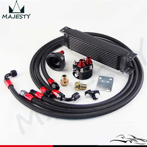 10 Row AN8 Engine Oil Cooler + 3/4*16 & M20 Filter Relocation Adapter Kit Black