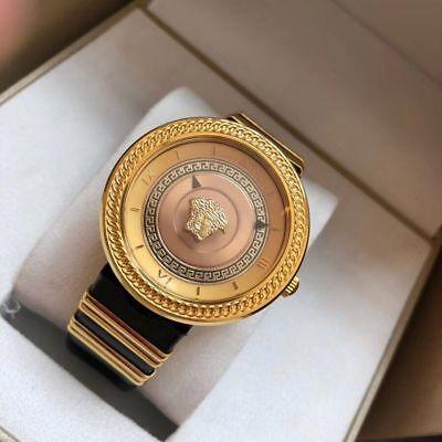 Icon Analogue Watch - Versace Women's VLC030014 V-METAL ICON Analog Display Swiss Quartz Black Watch