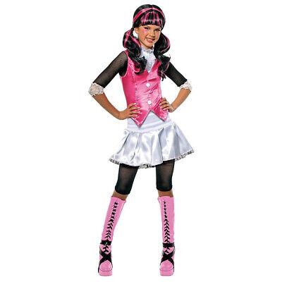 KINDER DRACULAURA KOSTÜM Halloween Monster High Vampir Hexen Schulmädchen Kleid