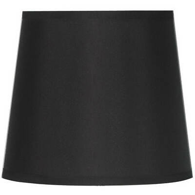 Black Round Drum Lamp Shade Fabric Cover Home Bedroom Table Accent (Fasttrack Shades)
