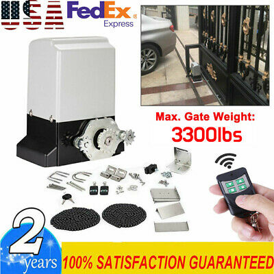 New 3300 Lbs Automatic Sliding Gate Opener Motor Auto-Close Security System Kit