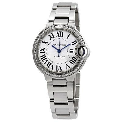 Cartier Ballon Bleu Silver Flinque Sunray Dial Ladies Diamond Watch W4BB0016