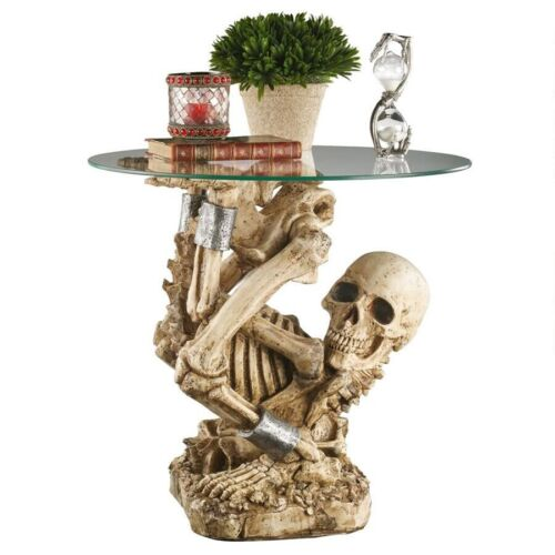 """17""""  Skeleton in Cuff Chain Sculptural Glass Top Side Table"""