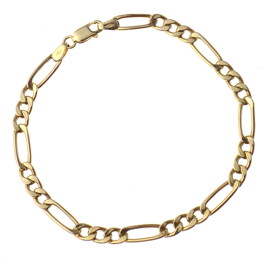 a6968ca96ed15 Details about Gorgeous 9ct Yellow Gold Hollow Figaro Link Bracelet